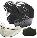 Typhoon Adult Dual Visor Modular Snowmobile DOT Full Face Flip-up Helmet (Gloss Black, XXL)
