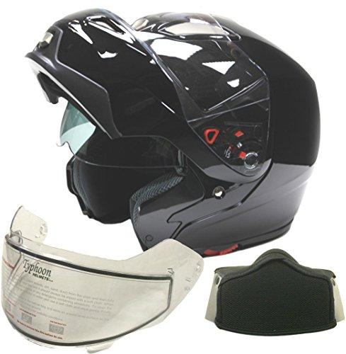 Typhoon Adult Dual Visor Modular Snowmobile DOT Full Face Flip-up Helmet (Gloss Black, XL)