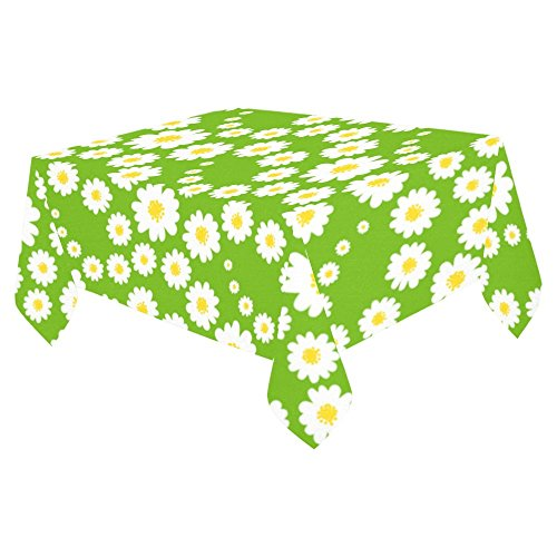 InterestPrint Home Table Decor Spring White Daisies Flower Tablecloth 52 X 70 Inches, Summer Floral Green Tablecover Desk Table Cloth Cover for Dinner Party Decoration