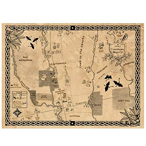 "Urban Realms | Fantasy Map of Columbus Ohio | Columbourne, Ohigh-Oh | LOTR Style | Created & Signed by Artist Catherine Thrush | Wall Decor Poster | Standard Frame Size | 18"" X 24"""