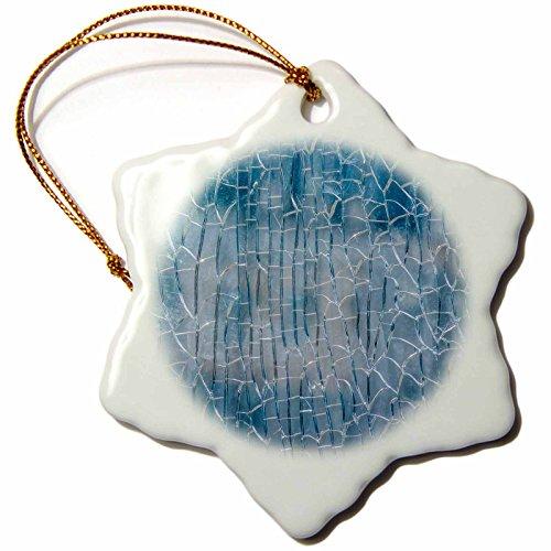 3dRose Alexis Photography - Texture Glass - Crackled glass texture. Blue color - 3 inch Snowflake Porcelain Ornament ()
