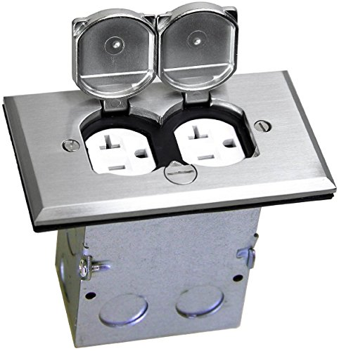 TOPGREENER 705507 Floor Box Kit, 1 Gang 20A Tamper / Weather Resistant Duplex Receptacle, UL Listed - Nickel Plated Brass