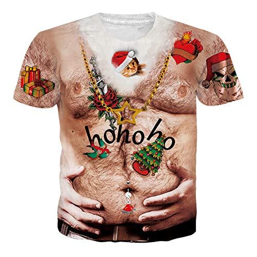 Men's Short Sleeve T-Shirts Christmas Tree Santa Cat Hairy Chest Beard Belt Print Casual Graphic Tees