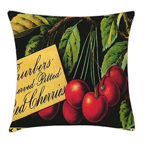 Rdkekxoel Vintage Fruit Crate Label Art, Thurber Cherries Throw Pillow Cover 18x18 Inch