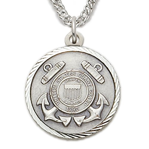 Sterling Silver United States Coast Guard Medal with Christ Cross Back, 7/8 Inch