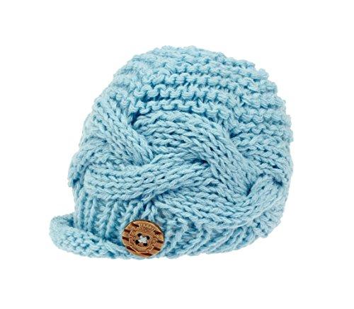 zefen Handknit Baby Boy knit Brimmed Newborn Photography Hat Cap Small Blue