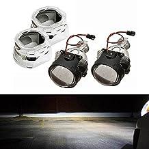 "iJDMTOY (2) 2.5"" Mini H1 Bi-Xenon HID Projectors w/ Square Shape Angel Eye Ready Shroud For Headlight Retrofit DIY"