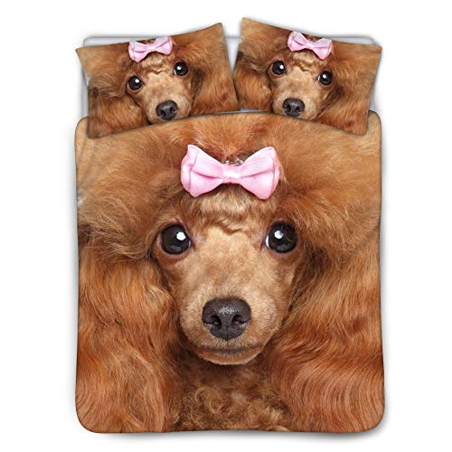 BIGCARJOB Brown Comforter Cover Bedding Sets Poodle Print Fashion Quilts Cover Sets Black Lining Queen Size 88x88inches