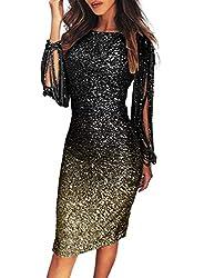 Sequin Tassel Sleeve Cocktail Party Multi-Black Colour Dress