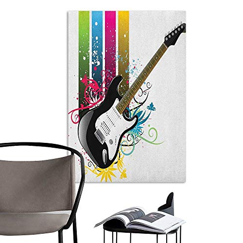 Alexandear 3D Murals Stickers Wall Decals Guitar Bass Guitar on Colorful Vertical Stripes with Floral Natural Artistic Ornaments Multicolor Decoration The Decorations Living Room W16 x H20 - Natural Coco Frame Stick