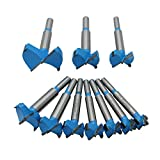 AUTOTOOLHOME 10pc 15-50mm (19/32''-2'') Tungsten Steel Forstner Drill Bits Set Professional Woodworking Wardrobe Doors Windows Hinge Hole Saw Wood Cutter Round Shank
