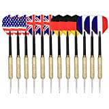 Tip Darts , Arespark 12 Packs Steel Tip Darts with National Flag Flights (4 Styles) - Stainless Steel Needle Tip Dart with 3 Free PVC Dart Rods