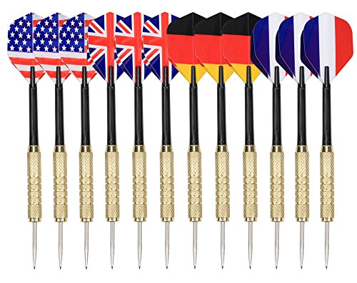 Amazon Lightning Deal 70% claimed: Tip Darts , Arespark 12 Packs Steel Tip Darts with National Flag Flights (4 Styles) - Stainless Steel Needle Tip Dart with 3 Free PVC Dart Rods