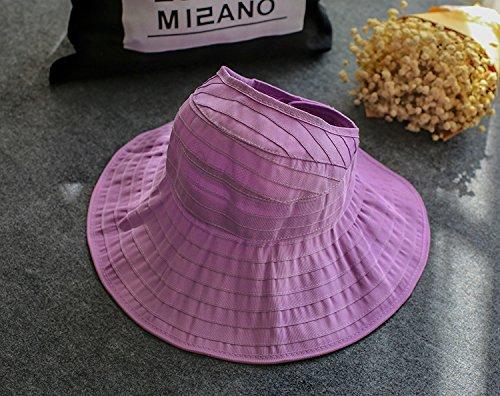 Upper-Les chapeaux de femmes peuvent être repliés de chapeaux en tissu chapeaux soleil protection UV,enfants,pourpre clair