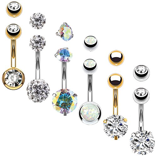 - BodyJ4You 6PC Belly Button Rings 14G Goldtone Steel Clear CZ Navel Banana Bar Girl Women Jewelry