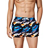 NUWFOR Fashion Men's Loose-Fitting Printed Pocket Elastic Waistband Beach Trousers(Blue,US XS Waist:28.35-28.35'')