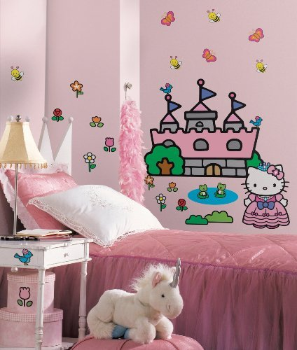 Hello Kitty Princess Castle Peel and Stick Giant Wall Decal Stickers Room Decor ()