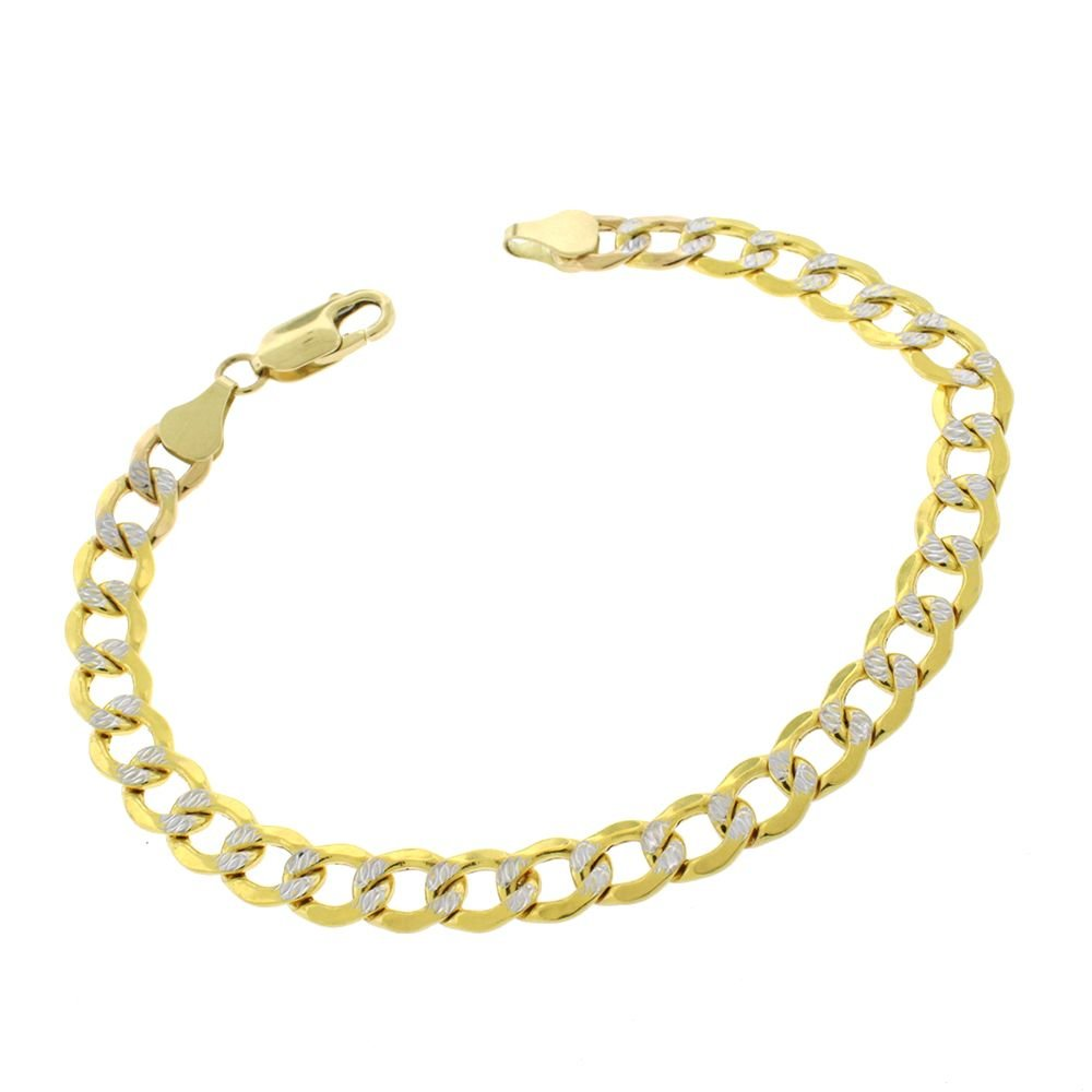 14K Solid Yellow Gold with White Pave Diamond Cuts 4.2MM Cuban Chain Bracelets-8 Inch by Pori Jewelers (Image #2)