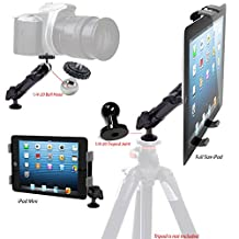 AccessoryBasics® JAX 6inch ALUMINUM DUAL 360° Swivel Joint Photo Booth Camera Recording TRIPOD MOUNT and Universal Metal Arm Tablet Holder for Apple iPad 4 3 2 | Air | Mini | Asus Transformer Pad VivoTab Google Nexus 8 9 10 Samsung Galaxy Tab 3 4 Note Pro HD 7 8.9 9 10 and all other 7-10 inch screen Tablets (FREE ALUMINUM 1/4-20 Joint to double unit into Professional Mini Ball Head Adapter)