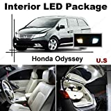 Ameritree Honda Odyssey 2014 & up (11 Pcs) Xenon White LED Lights Interior Package and White LED License Plate Kit