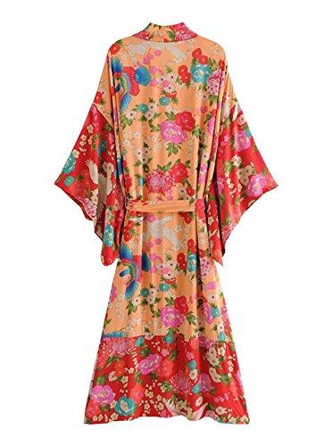 e71879ba7938f R.Vivimos Women Vintage Floral Print Beach Boho Cardigan Kimono Maxi Swimwear  Cover up Dress