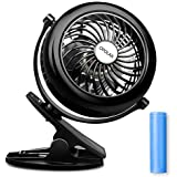 OPOLAR Battery Clip on Fan, Powered by USB or 2200mAh Rechargeable Battery, 360 Adjustable Wind, Personal Clip or Desk Fan with 3 Speeds, Multi Versatile for Hurricanes, Car, Baby Stroller and Outdoor