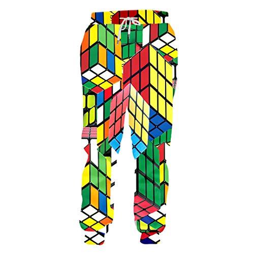 Men's Color Cube 3D Print Loose Comfort Sweatpants