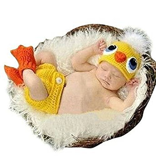 Eyourhappy Handmade Knitted Crochet Hat Costume Newborn Baby Photograpy Set Duck Hat+Socks+Pants -