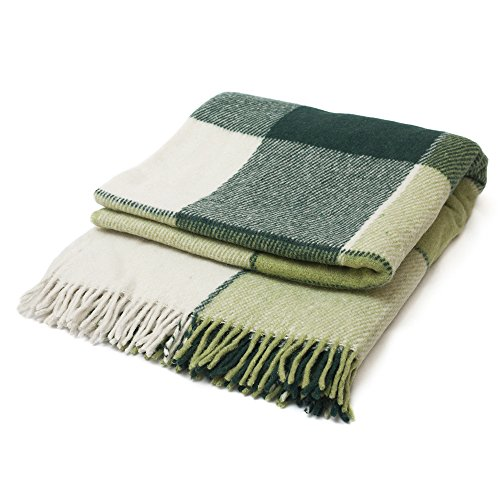 """- Luxury Wool Blanket 79""""x87"""" by CG Home – Super Warm and Soft Blanket for Cozy Fall and Winter Days – Green Tartan Plaid Throw Blanket Accents Any Home Décor by CG Home (Full)"""