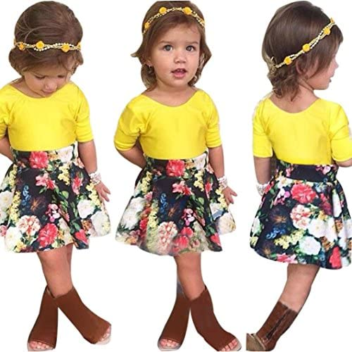 Baby Girls T-shirt Tops+Floral Short Skirt, Franterd Outfit Clothes Set