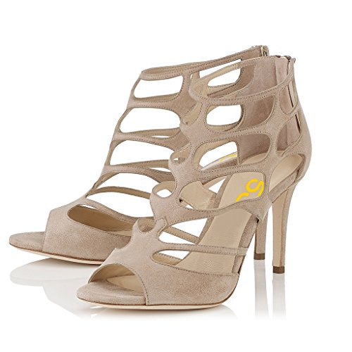 Toe Dress for Shoes Open Beige Fashion Size Wedding Heels Women Sandals 15 Strappy High 4 FSJ US xYgRvqW