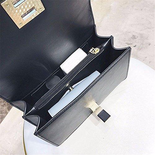 pour à Square Simple Convient Bag Quotidien Lock Messenger Sequin Retro bandoulière Sac Un Grande Noir Usage PU Asdflina capacité FwYZZz