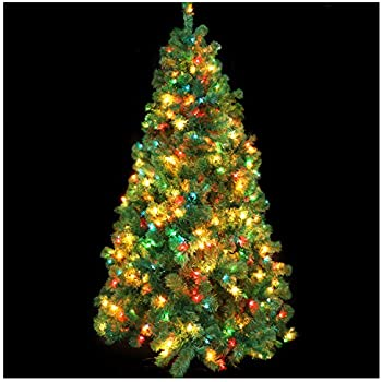 casa clausi christmas tree 6 12 feet pre lit multi colored lights - Christmas Tree With Colored Lights