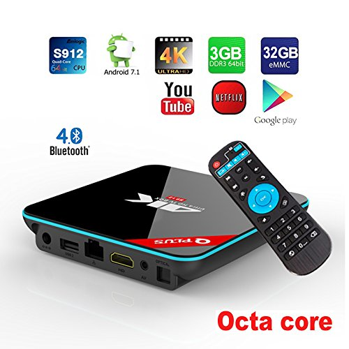 APES 32GB EMMC Flash 3GB RAM Octa Core Q Plus QBOX+ 1080p 4K 3D Android 7.1 Amlogic S912 Dual Wifi Bluetooth 4.1 TV Streaming Media Set Top Box by A Plus Electronic