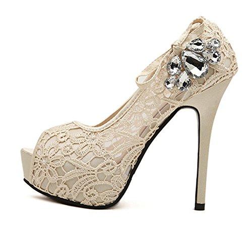 Aisun Femmes Strass Mignon Peep Toe Plate-forme Slip Sur Habillé Stiletto Super Talons Sandales Chaussures Avec Des Arcs Abricot