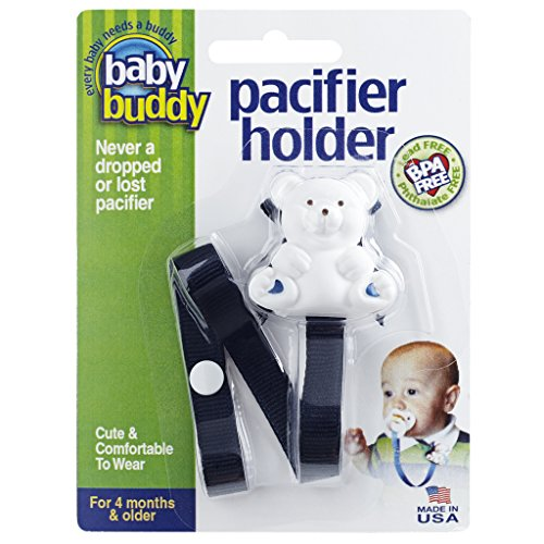 Baby Buddy Pacifier Holder Clip - Cute Fashionable Bear Clips onto Baby's Shirt, Snaps to Paci, Teether, Toy - For Babies 4+ Months - Pacifier Clip for Toddlers Boys & Girls, Navy, 1 Count from Baby Buddy