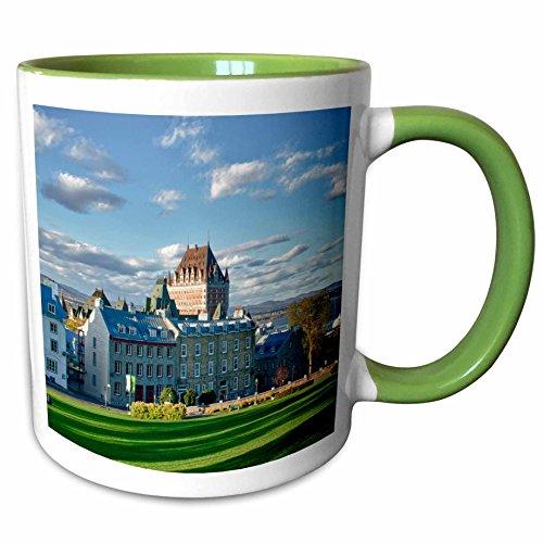 (3dRose Danita Delimont - Hotels - Canada, Quebec, Quebec City. The Chateau Frontenac Hotel. - 15oz Two-Tone Green Mug (mug_205920_12))