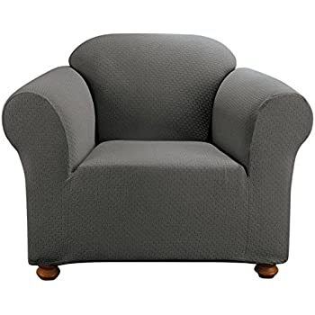 Sure Fit Simple Stretch Subway 1 Piece   Chair Slipcover   Carbon Gray  (SF44258