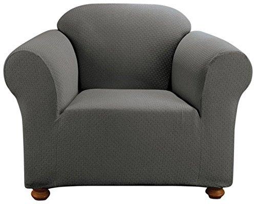 SureFit Simple Stretch Subway 1-Piece - Chair Slipcover - Carbon Gray -