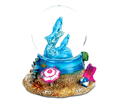 CoTa Global Resin Stone Cool Summer Dolphin Coastal Snow Globe (45mm), 2.5