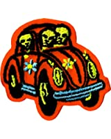Aliens in Orange Hippie Car - Embroidered Iron On or Sew On Patch