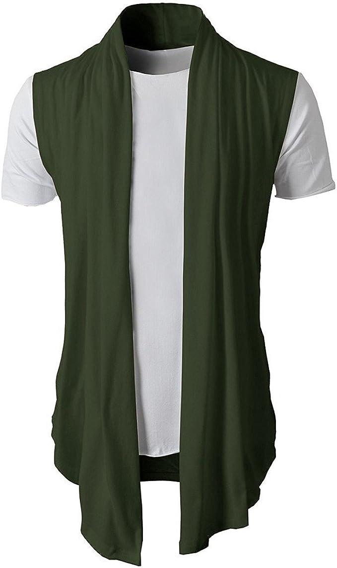 Berimaterry Camisetas de Hombre Abierta de Color sólido Lino ...