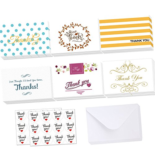 4 x 6 Inches Thank You Greeting Cards With V-Flap Envelopes & Stickers Set - 48/24 Assorted Pack Thank You Note Cards In 6 Vintage Handwritten Thank You Designs By (Photo Card Pack)