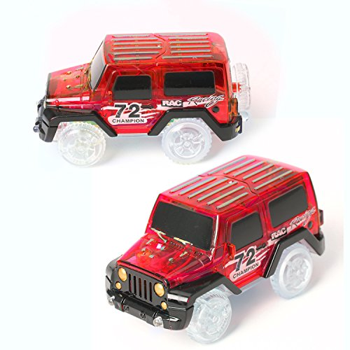 2PCS Race Cars for Magic Race Track Glow in the Dark Light Up Vehicles LED Cars Set Toys Set of 2 (Red)