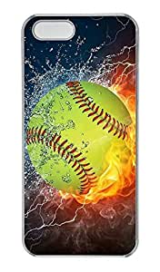 iPhone 5 Case, iPhone 5S Cases, Fire Yellow Softball Custom Design Hard PC Clear Protective Case Shock-Absorption Bumper Cover for Apple iPhone 5 5S by ruishername