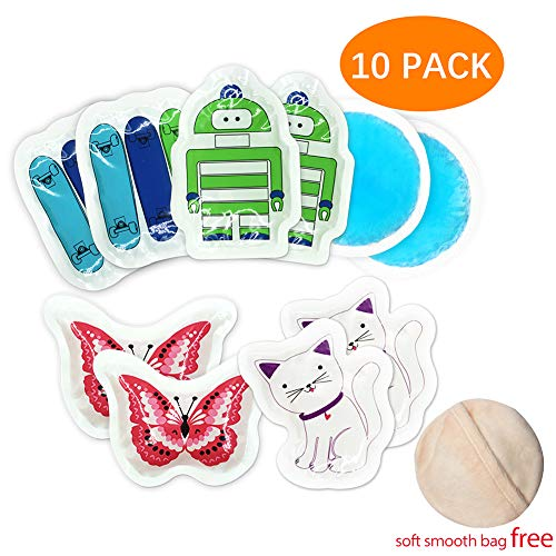 (Kids Ice Pack for Boo Boos Injuries by WORLD-BIO, Reusable Children's Fun Cartoon Pack Relief for Wisdom Teeth, Small Round Cold Pack Great for Breastfeeding, Post Eye Surgery, Headaches)