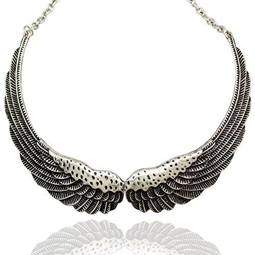 Q&Q Fashion Silver Big Hinged Angel Guardian Wing Statement Chain Collar Choker Bib Necklace