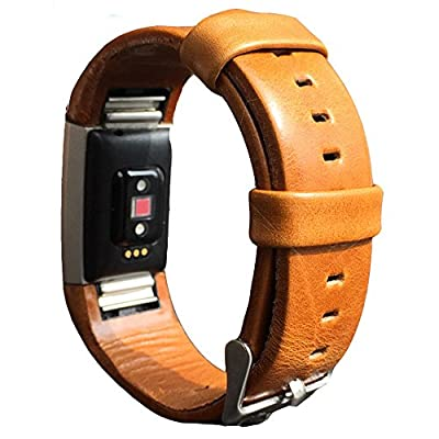 Leather Band for Fitbit Charge 2 Genuine Leather Glossy WristBand Fitness Flex Shine Leather Band Adjustable Bracelet Replacement Accessories