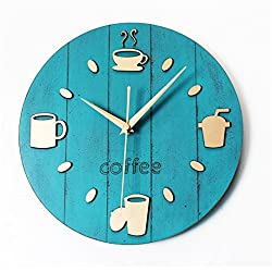 RFVBNM Creative Wood Coffee Cup Restaurant Wall Clock,Silent Non Ticking Battery Operated 12 Inch Round Easy To Read Living Room Dining Room, Coffee Shop And Bar Iron, Bedroom Clock,Blue