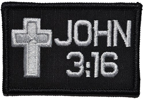 John 3:16 With Cross 2x3 Bible Patch
